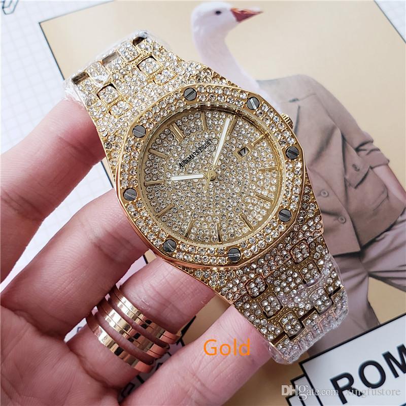 top marca de relógios real de aço inoxidável deluxe relógio 42 milímetros de diamante dos homens levantou-se negócio ouro relógio marca de luxo relógios homens relógios de grife