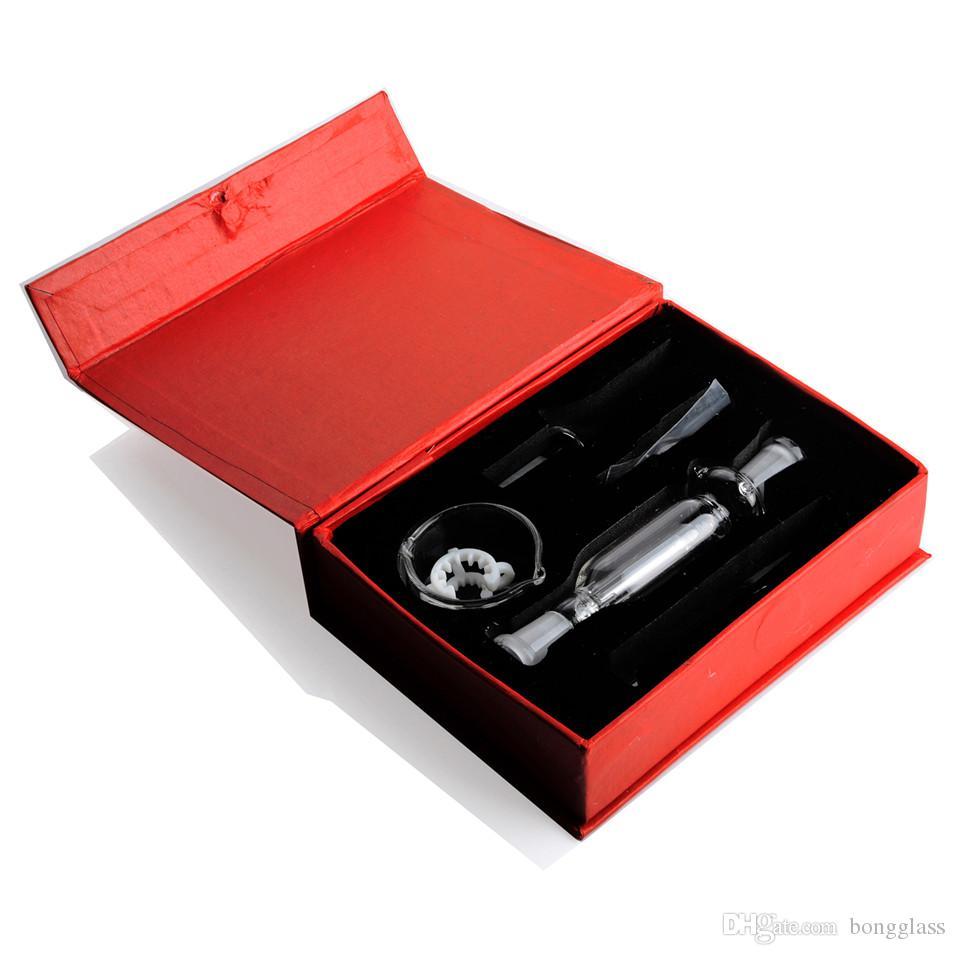 넥타 키트 세트 두꺼운 안경 물 파이프 흡연 유리 파이프 오일 버너 파이프 물 봉지 버블 덩어리 10mm