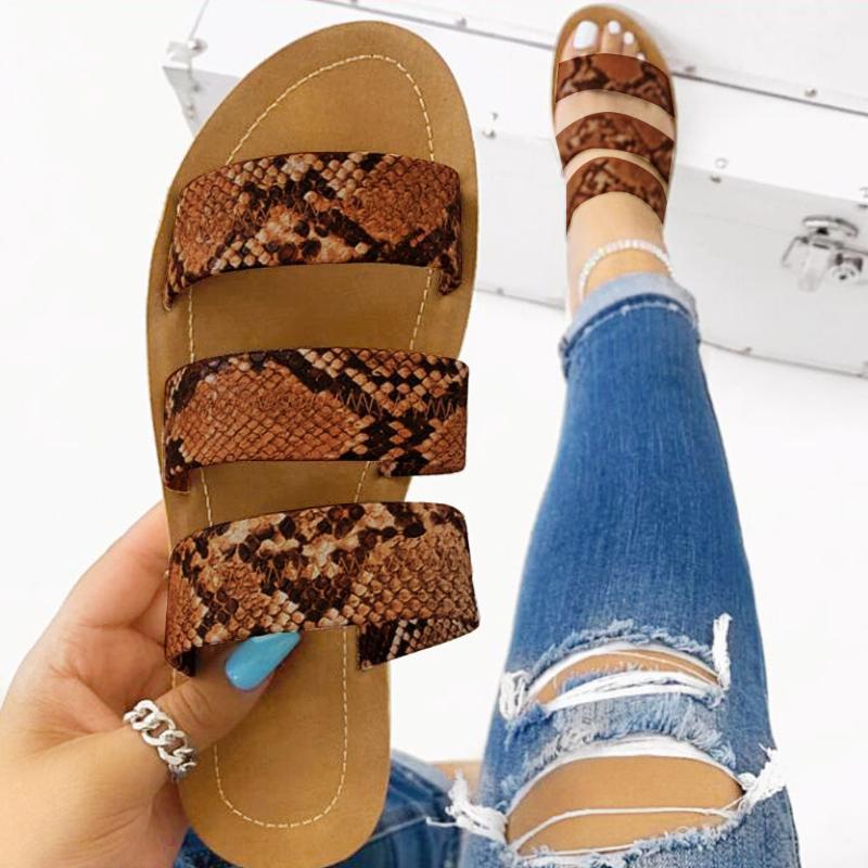 SAGACE 2020 kadın moda vahşi plaj ayakkabıları Kadınlar Yılan totem üç katmanlı Açık terlik düz dipli bayan terlik Düz Ayakkabı