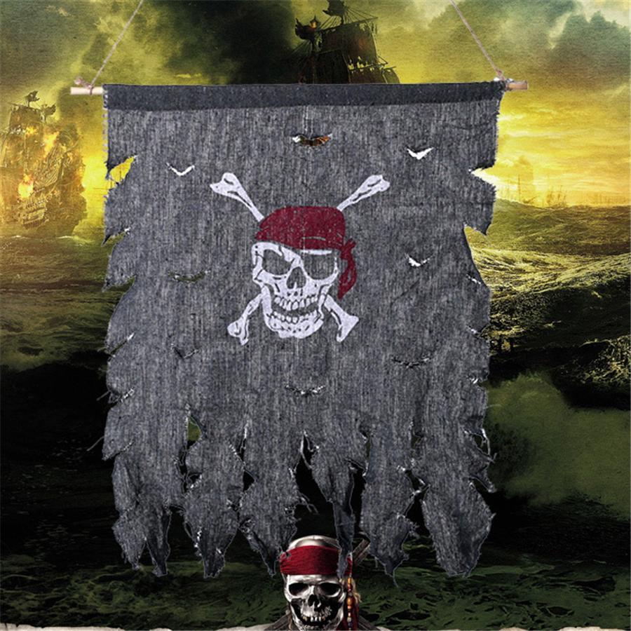 90 * 76 cm Retro Schädel-Knochen-Piraten-Flagge Weinlese-Gewebe Jolly Roger Flags Partei-Dekoration Veranstaltungsort Feste Halloween Supplies JK1909