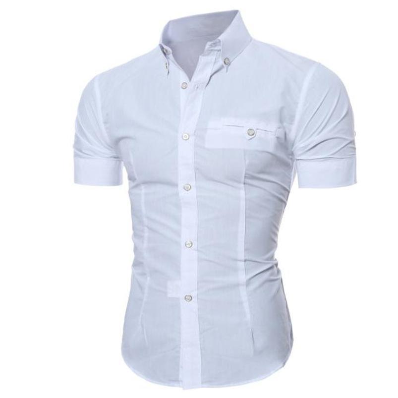 2018 Camicia da uomo estate alla moda di affari Slim manica corta di base camicetta superiore di formato M-5XL camisa Masculina # M21