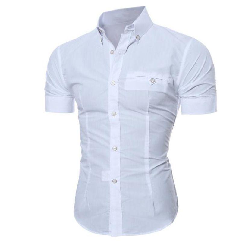 2018 shirt Men Summer Business Stylish Slim Short Sleeve Basic Shirt Blouse Top Size M-5XL camisa masculina #M21