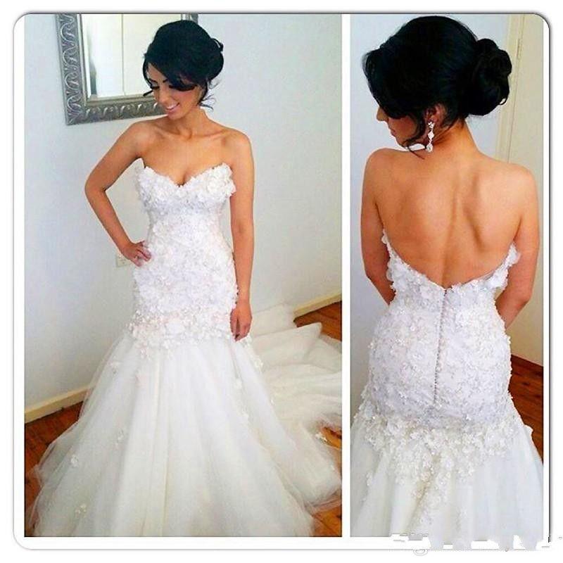 Nova moda Branca Sereia vestidos de casamento 2019 Sexy vestidos de noiva querida Floral Applique Backless Tribunal Trem Vestidos de Noiva Plus Size