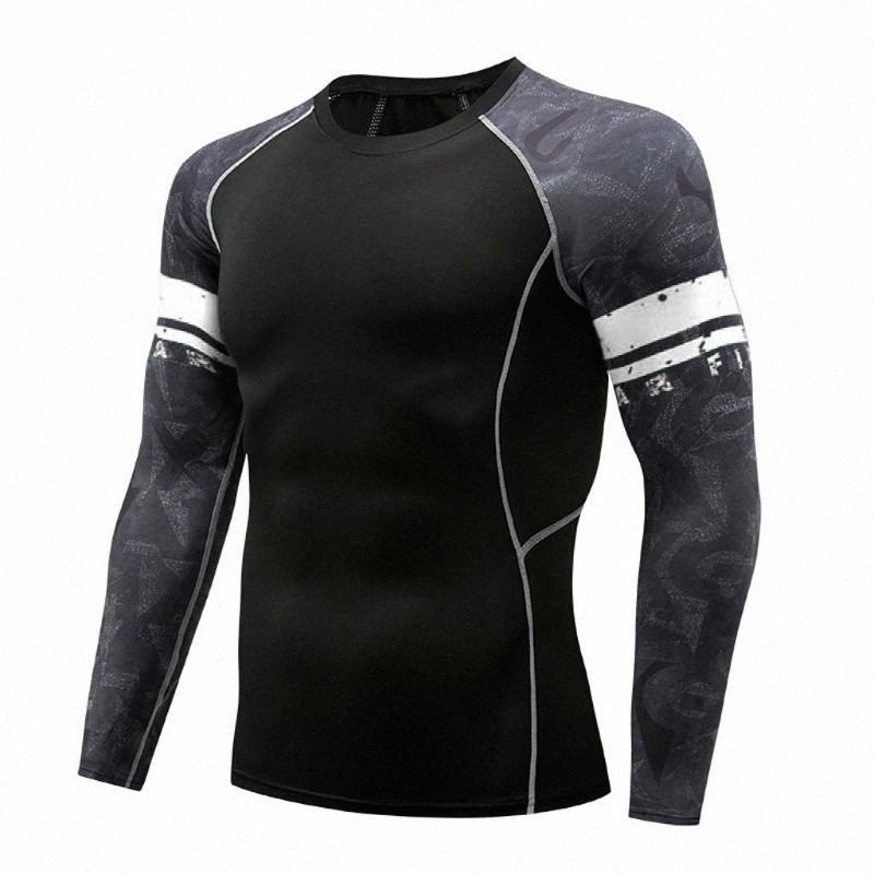 Courir à manches longues T-shirt de compression rapide sec respirant Gym Shirt Sweat elstic Sport Fitness Tee Top Vêtements pour hommes CVMC #