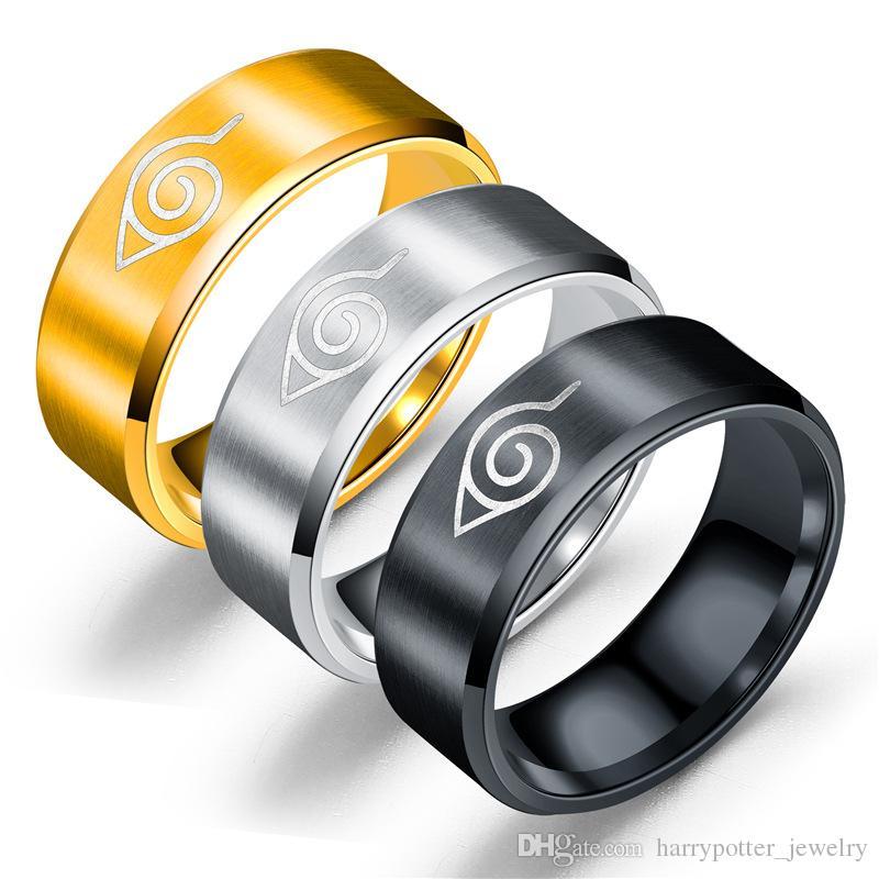 Титановые кольца перста Tail кольца большого пальца руки из нержавеющей стали кольцо Женщины Мужчины золото серебро черный Ленточные кольца ювелирные изделия корабль падения
