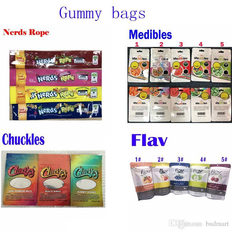 Gummies sacos de embalagem de doces Chuckles gomoso vermes Nerds Corda Medible Flav sacos comestíveis 420 cheiro prova Mylar sacos