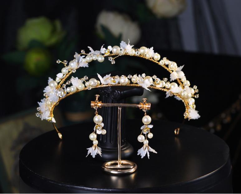 Coroa Tiara do partido da flor do casamento da noiva princesa cabeça dupla Hairband para Crystal Rhinestone Prom mantilha Moda jóias conjunto