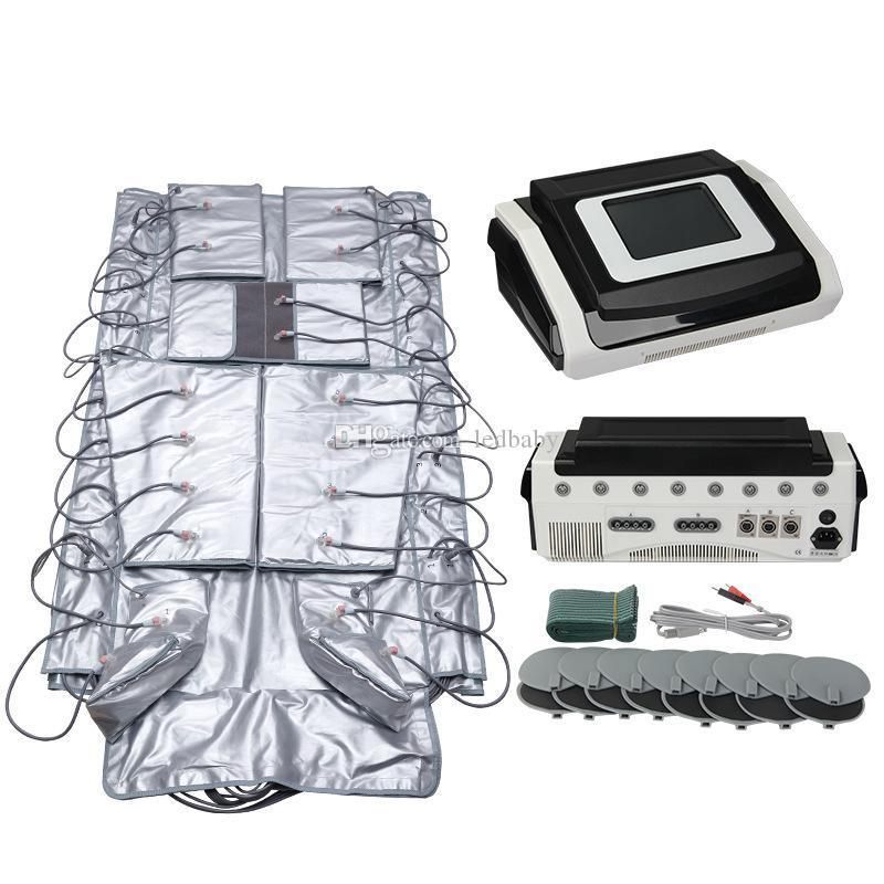 العلاج بالضغط 3 في 1 ems آلة المهنية التصريف اللمفاوية مدلك آلة ems الأشعة تحت الحمراء التخسيس الجسم البدلة للاستخدام صالون تجميل