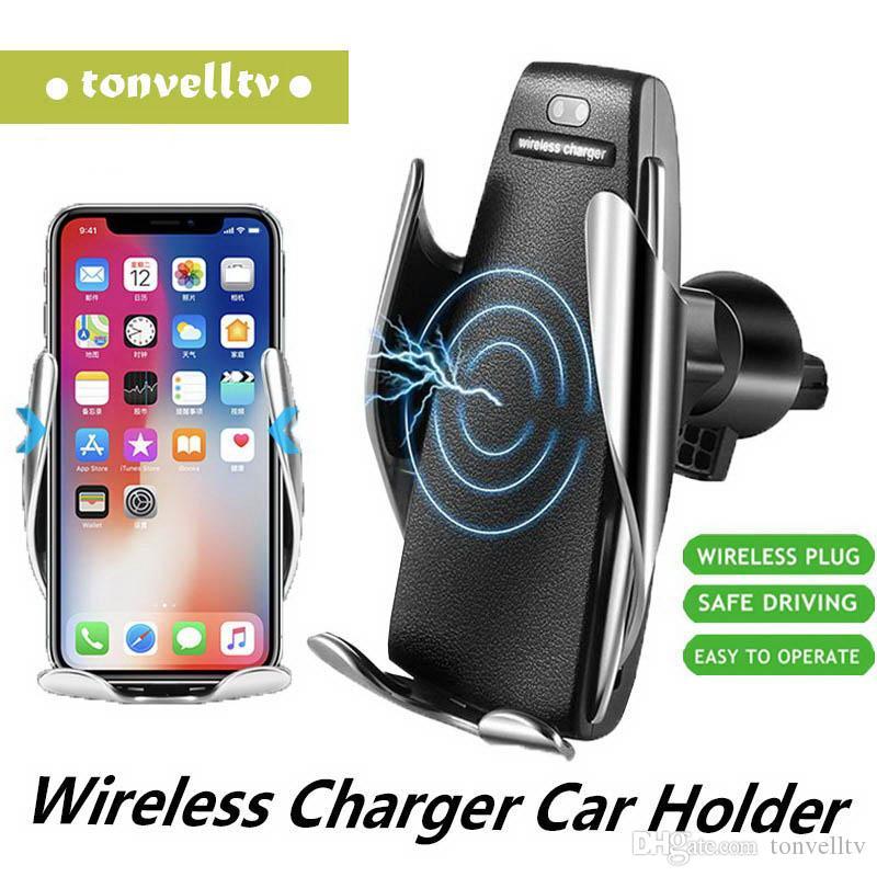 핫 S5 무선 자동차 충전기 자동 클램핑 아이폰 안드로이드 에어 벤트 마운트 전화 홀더 360 회전 스마트 센서 10W 빠른 충전