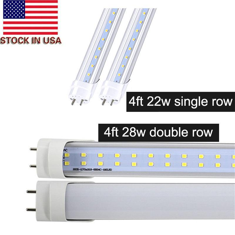 Stock Aux États-Unis + bi pin 4ft conduit t8 tubes 18W 22W 28W double rangée T8 Remplacer le tube régulier AC 110-240V UL FCC