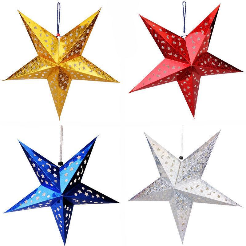 Kağıt Fenerler Süslemeleri düzeni Noel Süs 30cm Kağıt beş yıldızlı yıldızı abajur Noel sahne