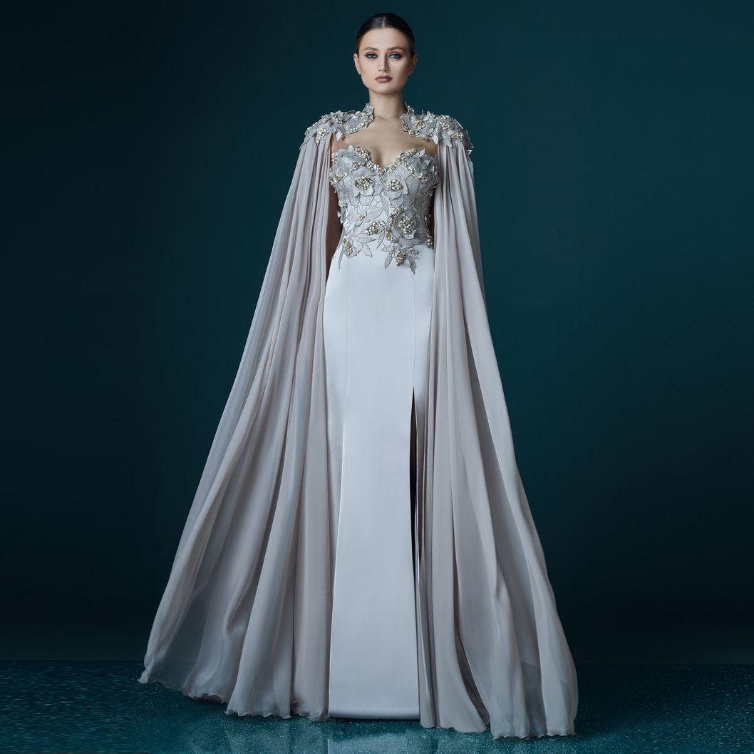 Großhandel New Elegant Grau Chiffon Lange Mantel Spitze Appliques Gerade  Abendkleid Vestidos Prom Lady Maxi Kleid Fließende Ereignis Promi Lange