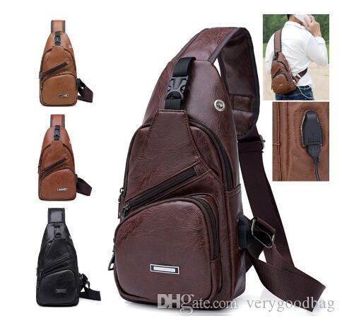 2020 newCross-Border For Custom PU сумка Мужская зарядная сумка Мужская USB-сумка Сумка Диагональный пакет Сумка-сундук