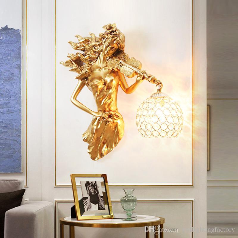 Avrupa Yaratıcı Dekorasyon Duvar Işıklar Salon Arkaplan Kristal Duvar Lambaları atmosferik eser Merdiven Işık Retro Yatak Odası Abajur