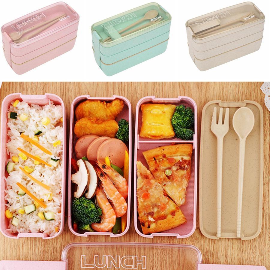 Paglia di grano Lunch Box materiale sano Lunch Box di 3 strati 900ml paglia di grano Bento Boxes Microonde da tavola Food Storage Container RRA2425