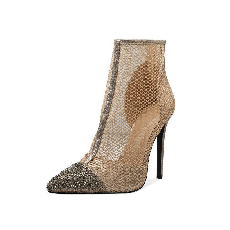Mulheres Sapato de bico fino orifícios de rede Botas Verão Sexy Verão Zip respirável partido do salto alto preto Apricot Tornozelo Botas