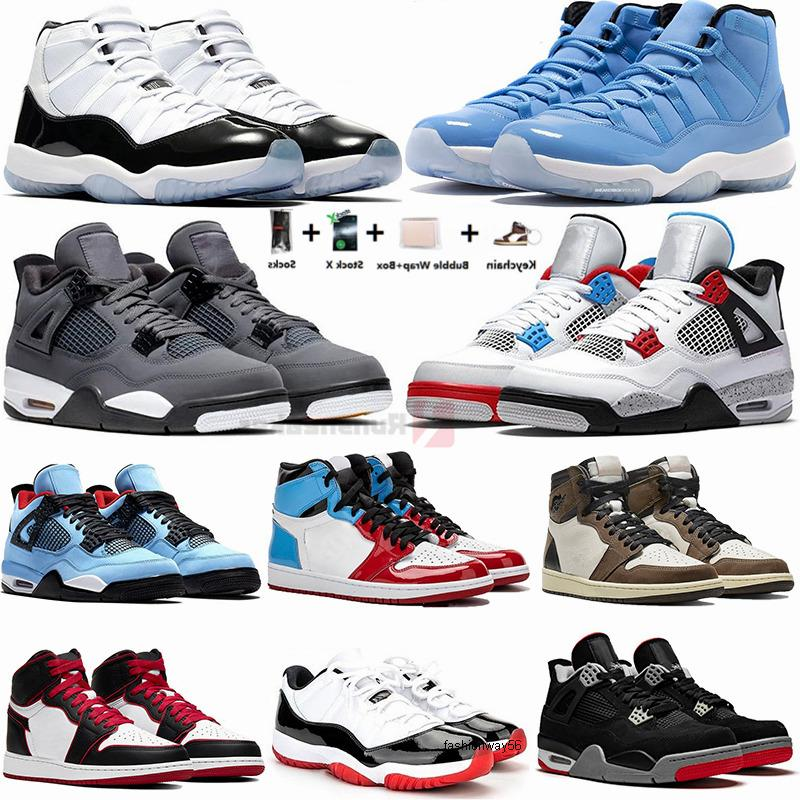 Chaussures de sport 11s Pantone Concord 45 4s Hommes Chaussures de basket-Bred Jack Cactus 1s Travis Scotts Twist pur Money Man Baskets femme Designer