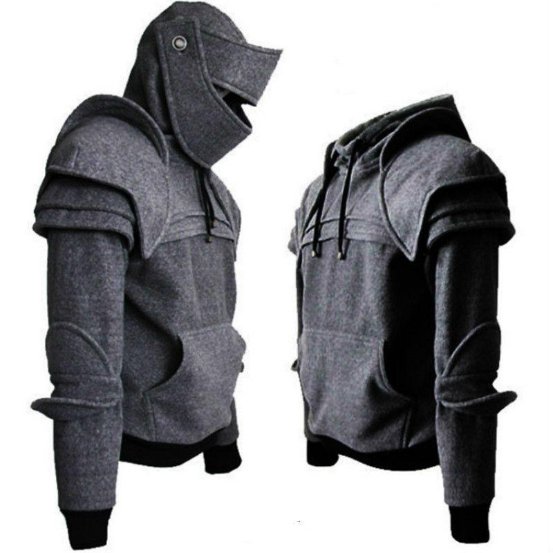 Cosplay İçin Adam Ortaçağ Vintage Savaşçı Asker Şövalye Erkekler Sonbahar Kış Erkek Armor Diz Triko Üst Ceket Sweatshirt Maske
