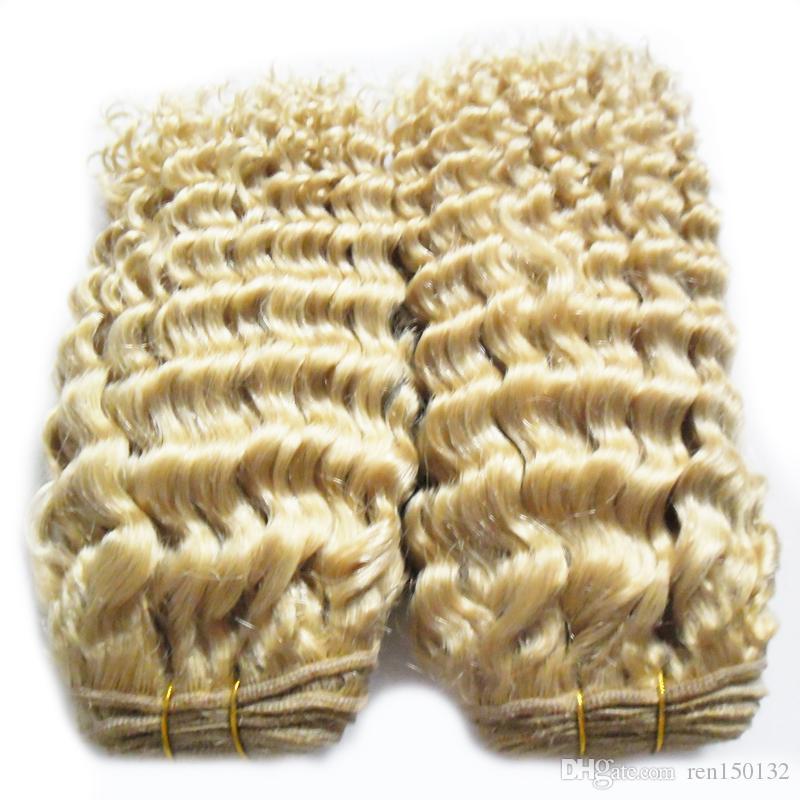 kinky curly Brazilian curly Wave Human Hair Weaves 2PCS Brazilian Hair Bundles Virgin Hair 8-30inch blonde Color