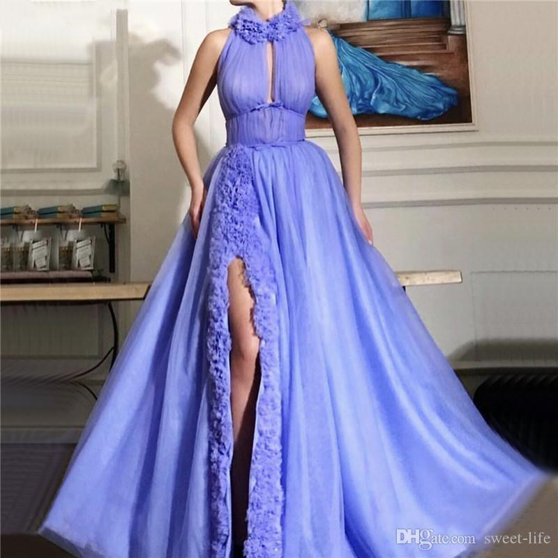 2020 섹시한 높은 분할 이브닝 드레스 A 라인 댄스 파티 파티 착용 프릴 플러스 사이즈 민소매 층 길이