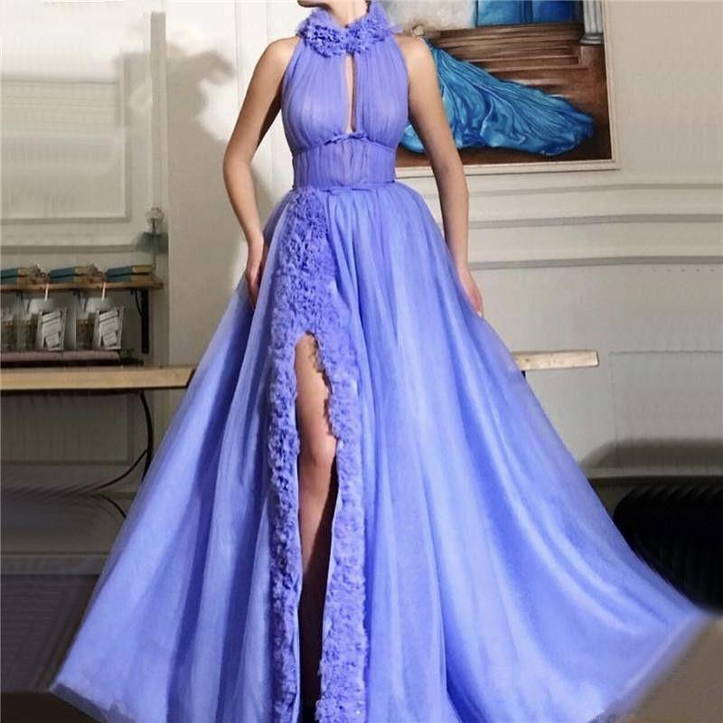 2020 Sexy High Split Evening Dresses A Line Prom Party Wear Ruffles Plus Size Sleeveless Floor Length