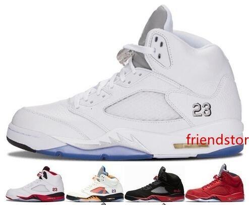 Nuevos 5s y metálico de plata mientras que los zapatos de baloncesto y zapatos Negro Azul Metálico Rojo sudado Olímpico metálico Cuatro deportes rojo zapatillas de deporte