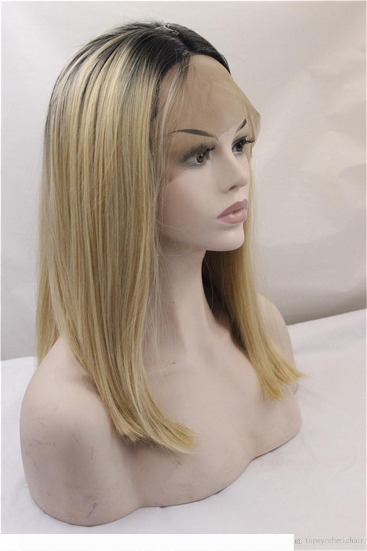 A Ombre 1B Blonde 2 Töne synthetische Spitze-Front-Perücke Dunkle Wurzeln Lange natürliche gerade Honey Blonde Replacement-Haar-Perücken für Frauen
