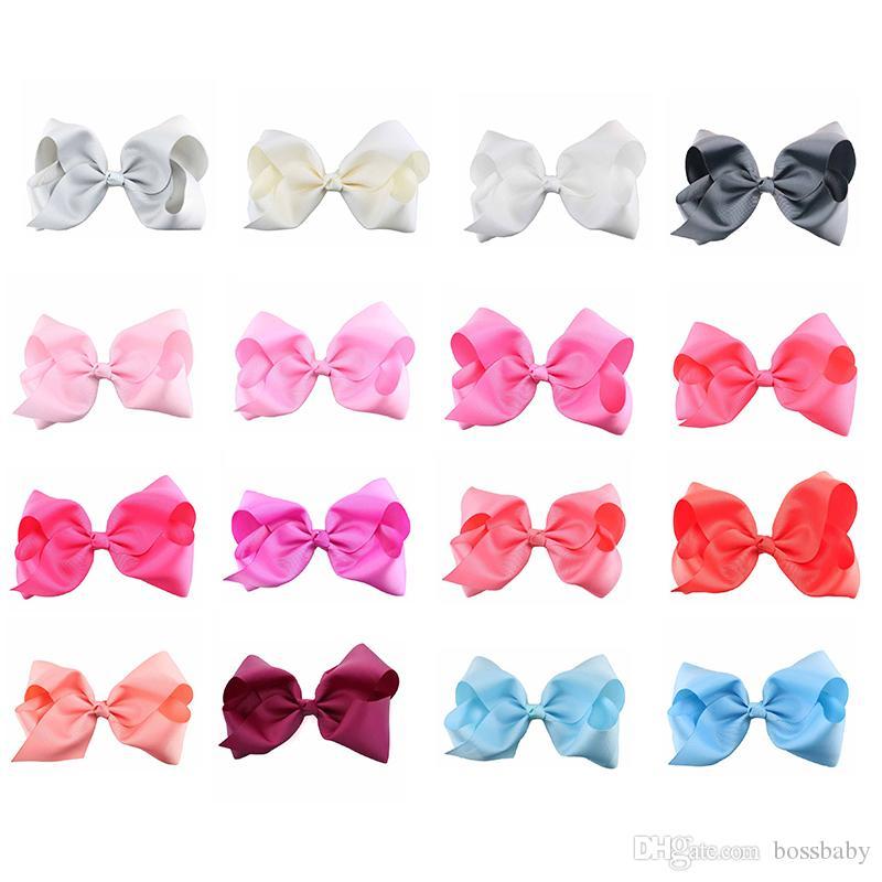 8 İnç Tokalarım Bow Tek Renk 40 Renk Grogren Şerit Timsah Klipler Kızlar Saç Aksesuarları Butik Büyük ilmek Barrette