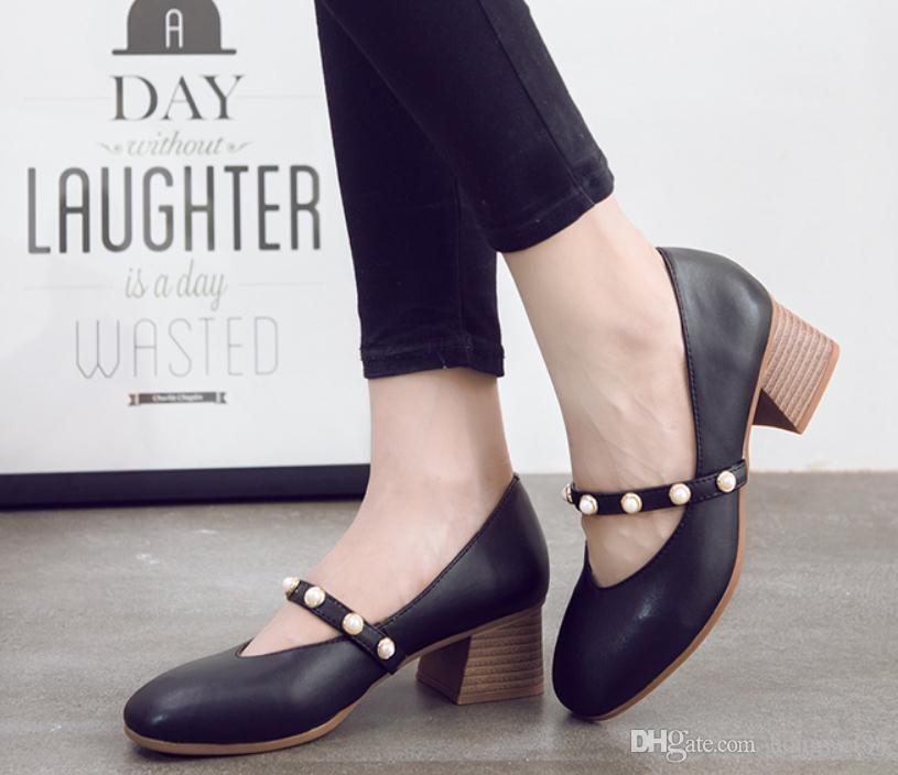 2019 Chaussures pour femmes au printemps et à l'automne avec nouveau style Talon moyen Talon grossier Tête carrée @ 14