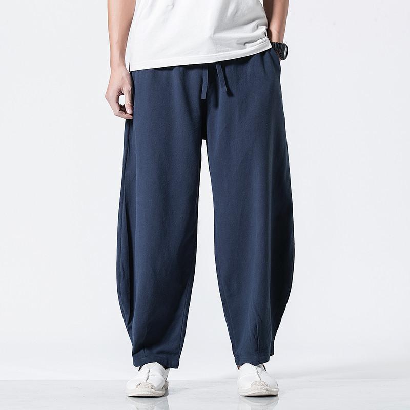 الرجال السراويل العلامة التجارية عارضة عارضة فضفاض القطن الصلبة الكتان الساق واسعة السراويل عالية الجودة الملاشور زائد الحجم M-6XL 7XL