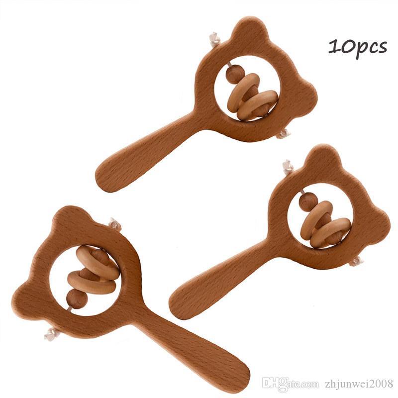 10шт детские игрушки из бука деревянные прорезыватели-погремушки жевать деревянные бусины кольцо прорезывание зубов Монтессори игрушки пищевого качества деревянные детские погремушки прорезыватель