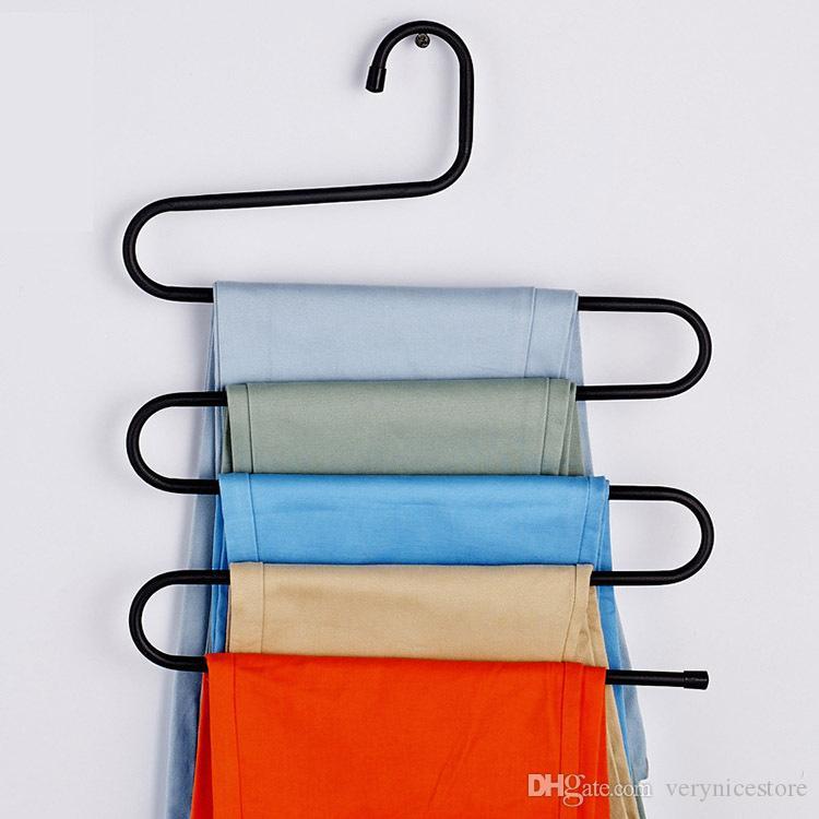 função de múltiplas camadas multi S calças mágicas acumular Forma arte Ferro Titular Roupa de armazenamento Racks cabide de armazenamento Wardrobe Lavandari Hot Sale