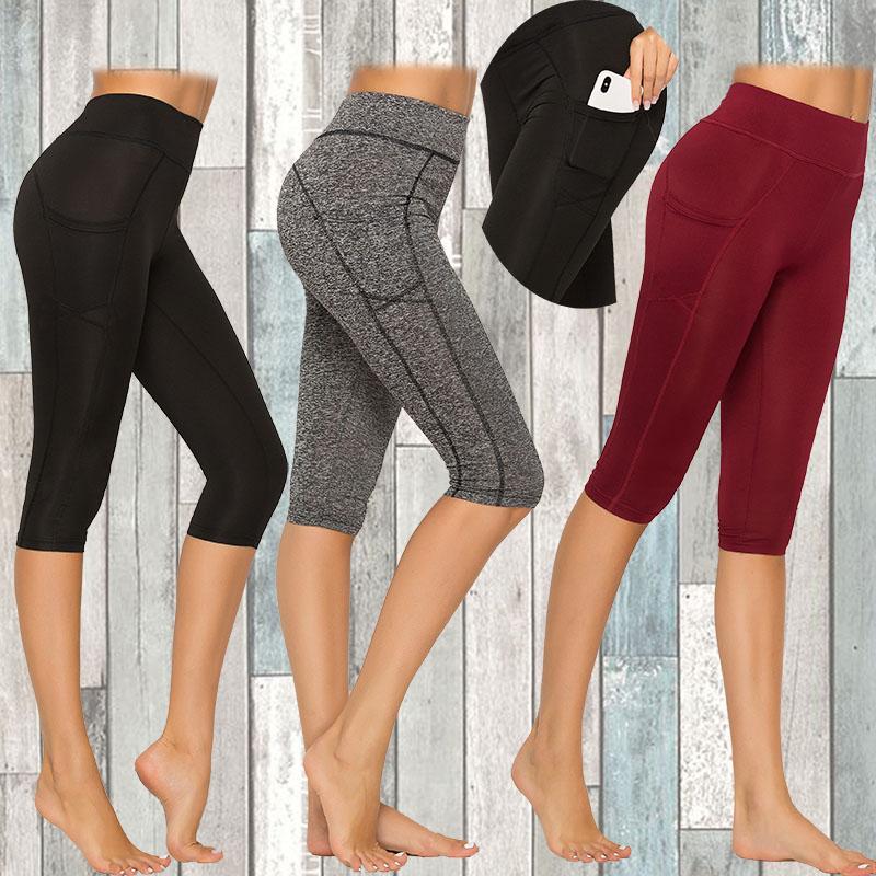 Фитнес женщины леггинсы Push up женщины высокая талия карманные тренировки леггинсы 2020 осенняя мода повседневная длина до колен дышащий