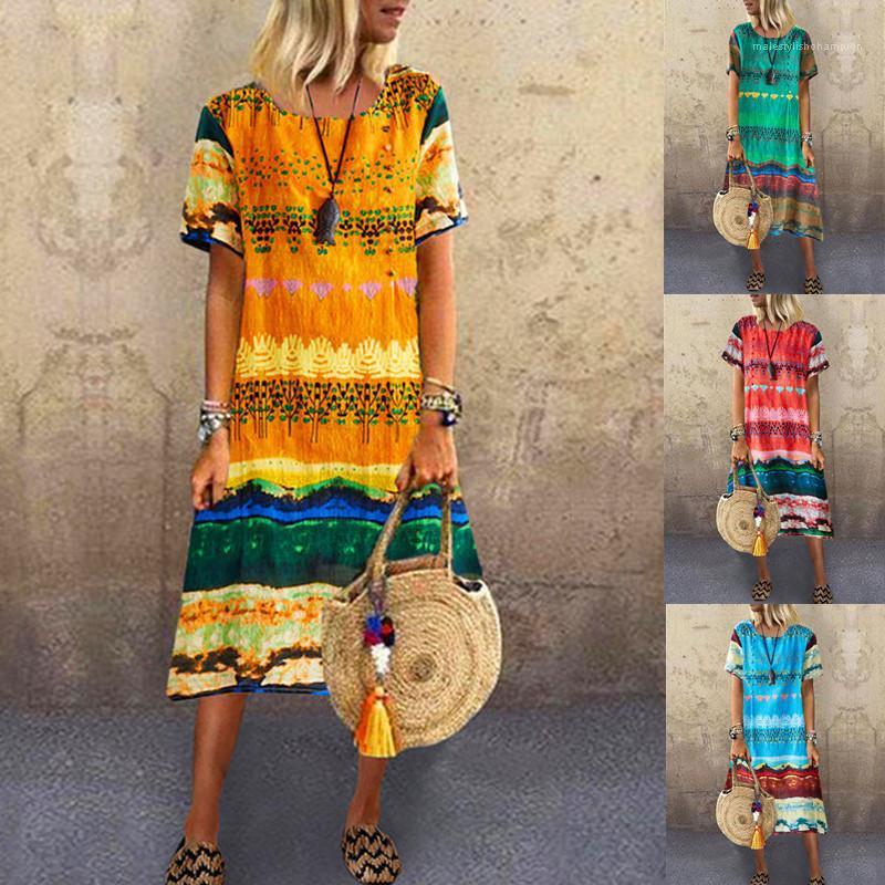 Luva Imprimir Crew Neck vestidos soltos roupas tamanho Feminino 2020 Mulheres Designer vestido de verão curto