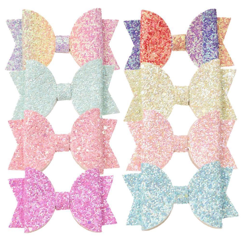 Kız 54pcs / lot 5 cm * 8 cm Glitter Bow Butik Yaylar Moda Saç Aksesuarları Payet Saç Yaylar Çiçek Aksesuar