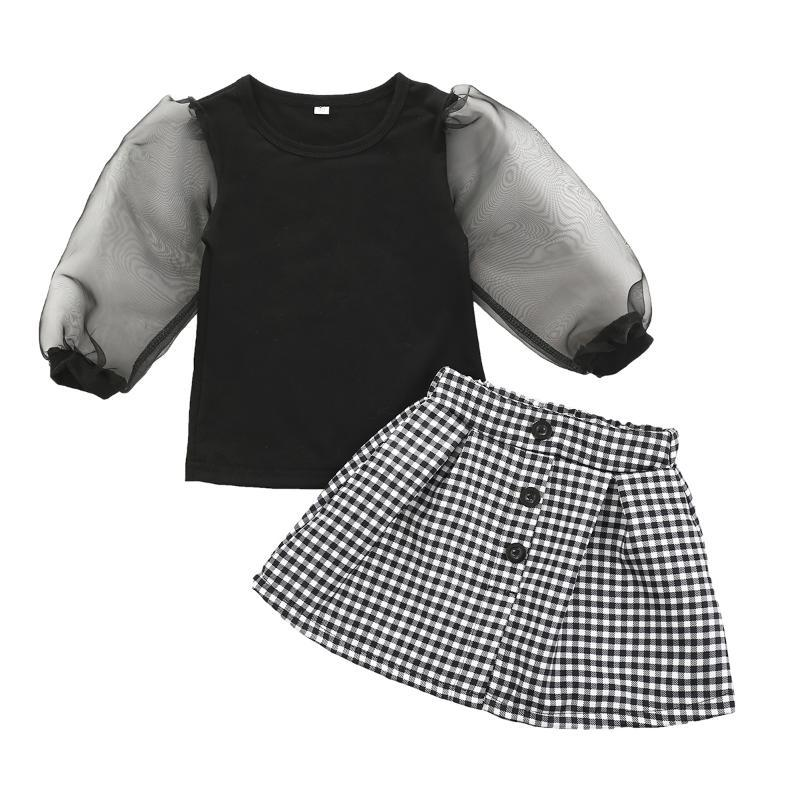 Toddler Baby Girls Clothes Sets Lace Puff Sleeve T Shirts Tops Plaid A-Line Mini Skirts Outfits 1-6Y