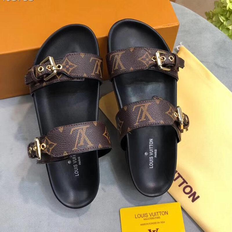 Los zapatos del diseñador Mujeres Bom Dia PLANO DE MULA diapositivas sandalia de la manera de la señora letra cuero de la impresión suela de goma con Zapatilla 35-40 con caja L18