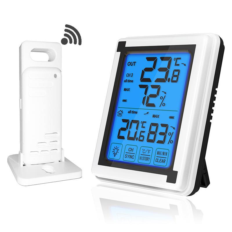 Touch-Screen-Wetterstation + Outdoor-Vorhersage Sensor Hintergrundbeleuchtung Thermometer Hygrometer Funk-Wetterstation