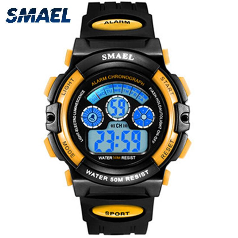 SMAEL Kids Watches Boys Quartz Wristwatches Student Sport Watches 50M Waterproof Alarm Clock 0508 Children Watches LED Digital