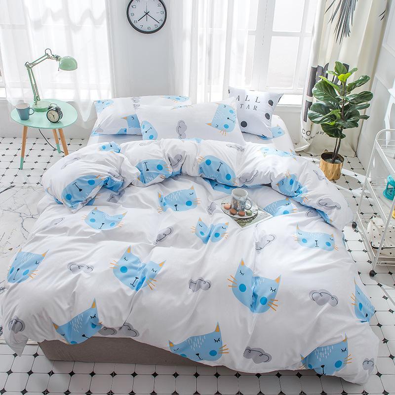 Hot Sale Home Bedding set Jacquard Duvet cover set 4pcs bed linens luxurious Bedclothes Queen king size Bed sets Golden Blue