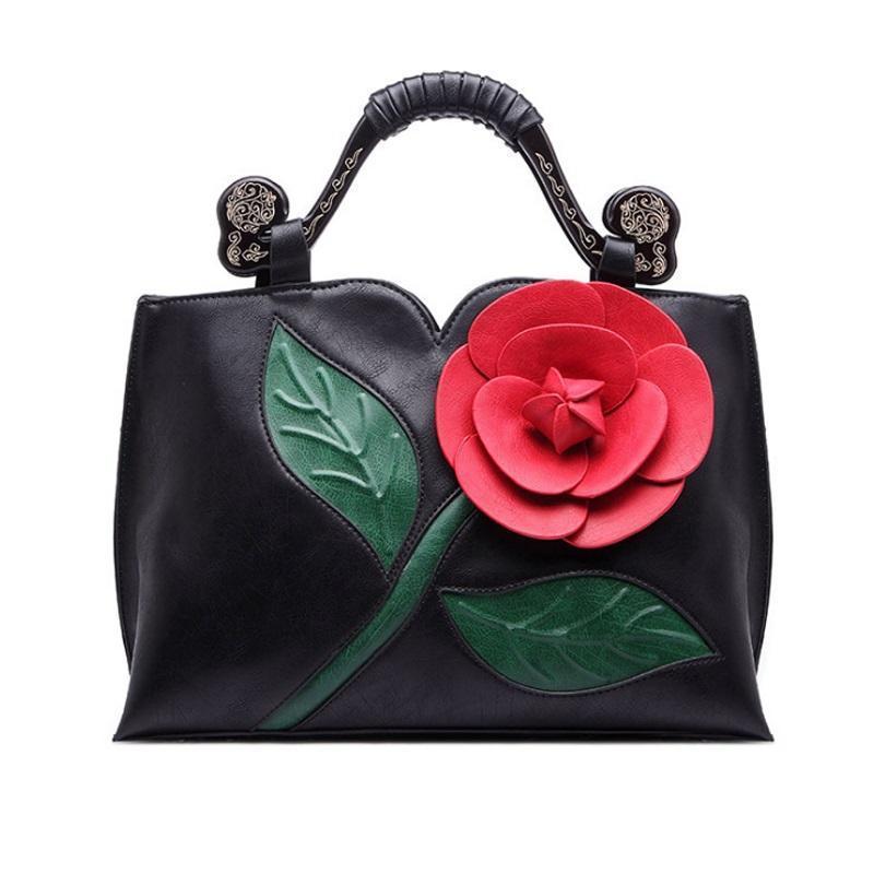 디자이너-큰 장미 꽃 가방 여성 여성의 핸드백 패션 여성 가방 핫 판매 빈티지 여성 가방 여성 토트 볼사 Feminina HLB034