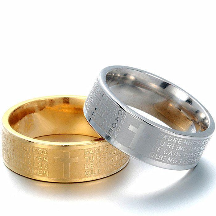 Anello Band Classic Uomini Donne croce latina Lettera Sbible anello di nozze di alta qualità Large Size 8 millimetri 18kgp 316 Titanio Acciaio