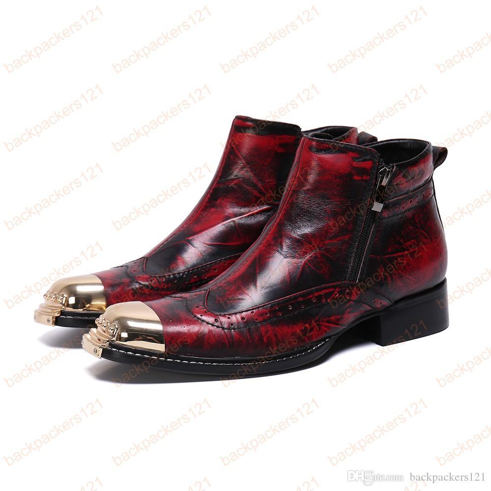Homem Cowboy Botas De Tornozelo De Couro Real Ao Ar Livre Estilo Vintage Moda Novas Botas de Metal Botas Botas de Homem Estilo Britânico