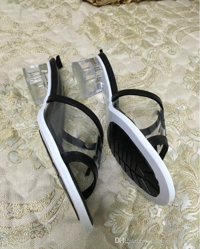 2020 Hot vente bureau de courts talons PVC mode féminine dame été frais occasionnels vacances plage talons chaussures dame noire grande taille 38 41