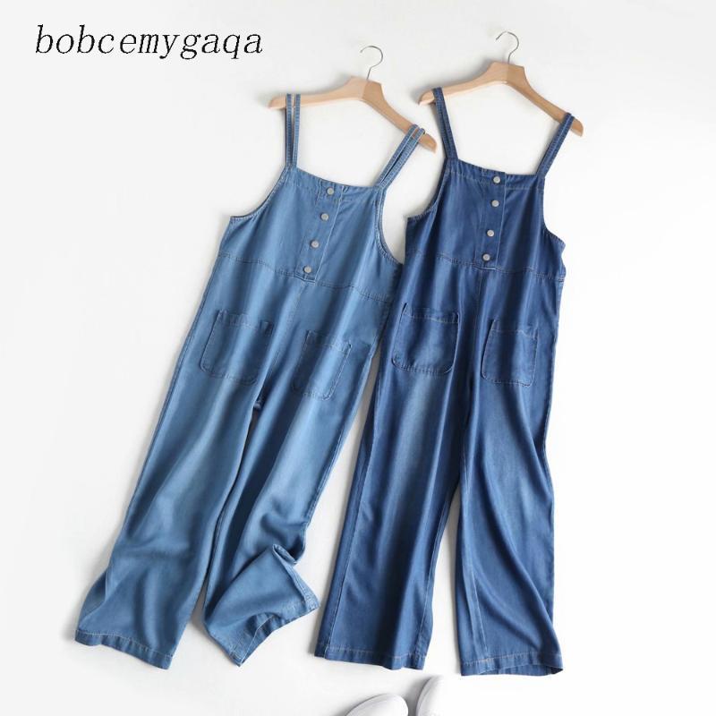 Frauen Taschen Overall blau Ärmel rückenfrei lässige Gesamthosen Denimjeans Strampelhöschen Street Hosen Overall