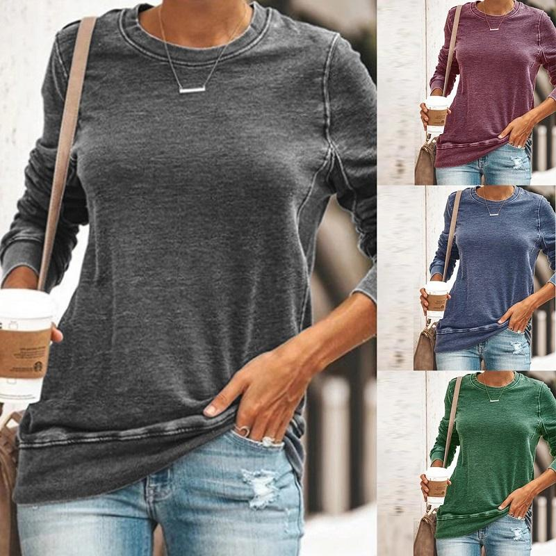 Pull Casual T-shirt à manches longues Femmes Femmes T-shirts Automne Hiver coton solide O-cou T-shirt Femmes Tops Femme 2020
