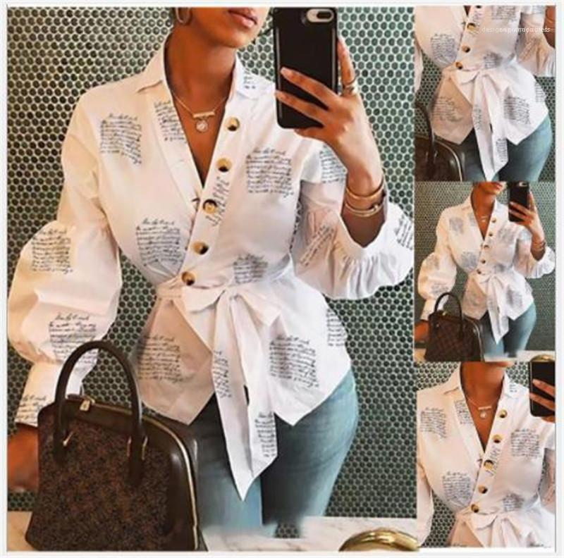 Fashion Women Shirts Letter Printed Womens Designer Shirts Button with Sashes V Neck Long Lantern Long Sleevee Shirts