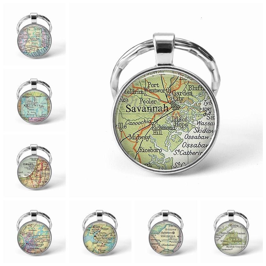 El más reciente cadena de metal llavero hecho a mano de la vendimia Israel Mapa Mundial de la Tierra Geografía llave de cristal de la bóveda llaveros para los hombres regalo de las mujeres