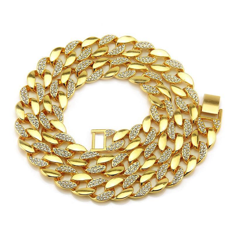 HXC Hip-hop tarzı 18K altın erkek pırlanta kolye 30 inç altın zincir Küba zincir kolye