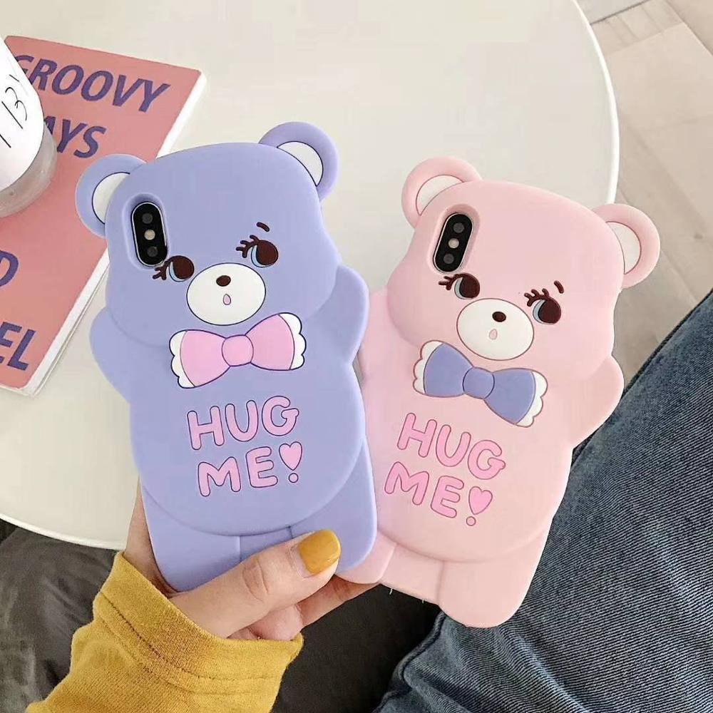 3D Cartoon Cute Bear Silicone Back Cover For iPhone 5 5s SE 5C 6 6s X XR Xs 11 Pro Max 7 8 Plus Phone Cases Fundas Coque Capa